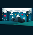 cartoon night landscape mountain vector image vector image