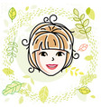caucasian woman face expressing positive emotions vector image