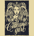 chicano tattoo vintage monochrome poster vector image vector image