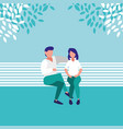 couple sitting park chair avatar character vector image vector image