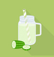cucumber juice in mason jar vector image vector image