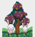 cute rabbits cartoons vector image