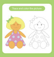 doll toy with simple shapes trace and color the vector image vector image