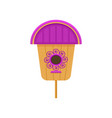 flat icon of wooden birdhouse with purple vector image vector image