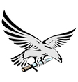 Flying eagle holding a sword vector image