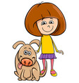 girl with funny dog cartoon coloring book vector image vector image