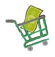 green shopping cart online bill money sketch vector image vector image
