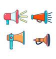 hand speaker icon set cartoon style vector image
