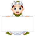 happy muslim kid holding blank sign vector image vector image