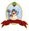happy snowman christmas banner cartoon grap vector image vector image