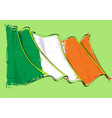 irish artistic brush stroke waving flag vector image