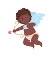 isolated african cupid with bow and arrow vector image vector image