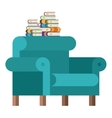 Isolated books and chair design vector image vector image