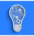 Light paper bulb with gears vector image