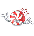 listening music peppermint candy mascot cartoon vector image