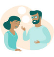 man and woman chatting with speech bubbles vector image vector image