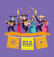 mariachi and catrina skulls day of the dead party vector image vector image