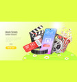 movie tickets online booking mobile theater vector image vector image