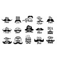mustache and hat icons fathers day holiday vector image vector image