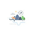 Outdoor sports activities runner icon vector image