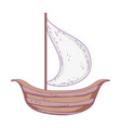 retro wooden sailboat icon vector image