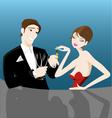 romantic couple flirting vector image vector image