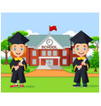 school kids graduation in front school building vector image vector image
