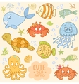 sea set animals vector image