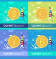 set diversity pushing coin yuan dollar euro vector image