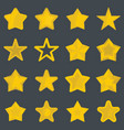 set flat cartoon star icons vector image vector image