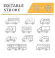 set line icons of bus and van vector image vector image