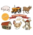 set retro farm icons vector image vector image