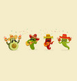 set with cinco de mayo characters singing vector image