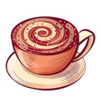 sketch cappuccino in cup aroma drink vector image