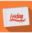 Spiral calendar friday notebook notepad long vector image vector image