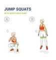 squat jumps with resistance band girl workout vector image vector image
