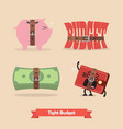 tight budget and recession shrinking economy vector image vector image