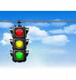 traffic lights with all three colors on hanging vector image vector image