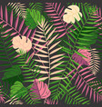 tropical summer palm leaves retro background vector image vector image