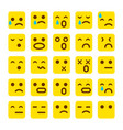 yellow set of smile icons emoji emoticons face sad vector image