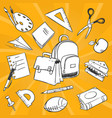 necessary students things - hand drawn stationery vector image