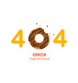 404 error page not found with donut graphic vector image