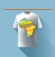 Abstract silver shirt with africa colored logo vector image vector image