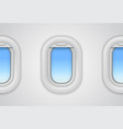 airplane windows realistic aircraft vector image