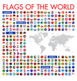 all official national flags world circular vector image vector image