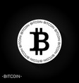 bitcoin logo icon black and white vector image vector image