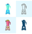 blender icon set in flat and line styles vector image vector image