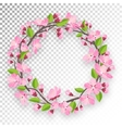Blossoming cherry round frame for text Apple-tree vector image