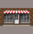 brick small 3d store front facade template vector image vector image