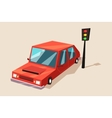 car or auto automobile vehicle at traffic light vector image vector image